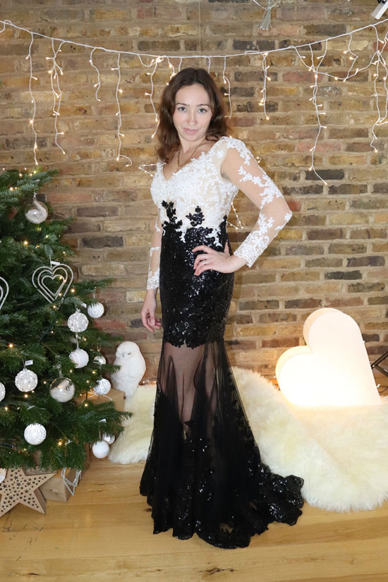 Long Sleeves White-Black Lace Dress for Christmas