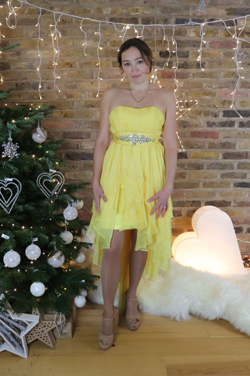 Yellow Cocktail Dress With Strapless Neckline and High Low Skirt