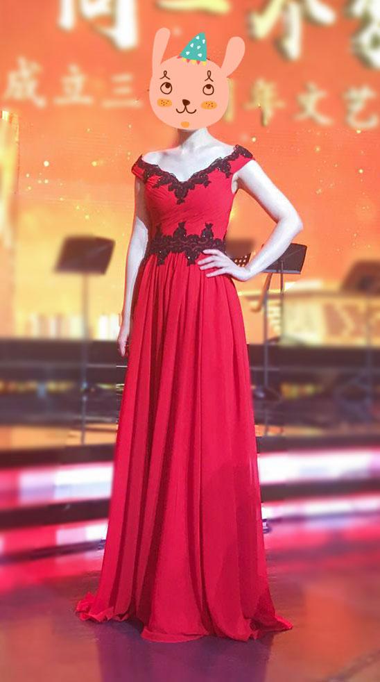 Red V Neck Prom Dress, Elegant Evening Dress A-line