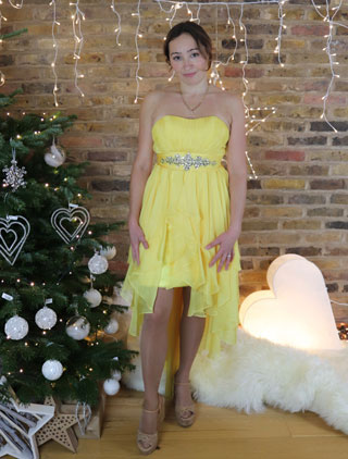 10047cbf5a8b Yellow Prom Dress, Strapless Cocktail Dress High Low