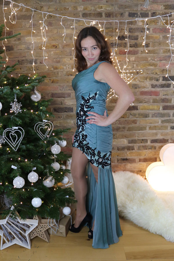 One Shoulder Blue Christmas Party Dress, Evening Dress