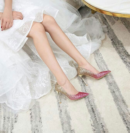 Sparkling Glitter High Heel Closed Toe Pumps Shoes
