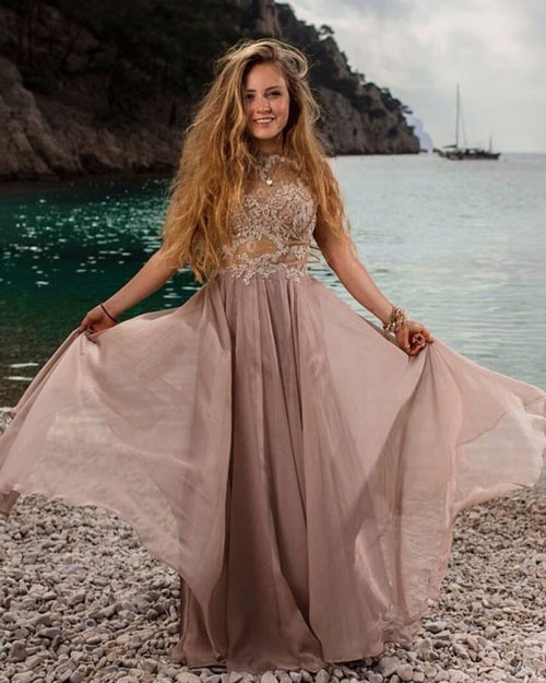 Lace Applique Beige Prom Dress, Stylish Wedding Guest Dress