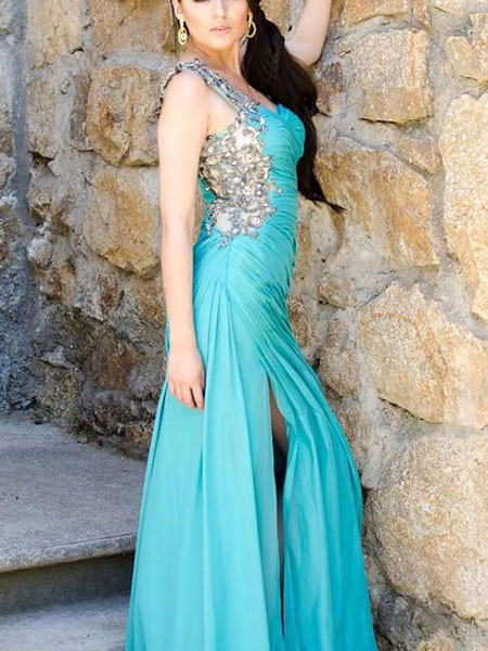 Turquoise Prom Dress, Long Formal Evening Dress