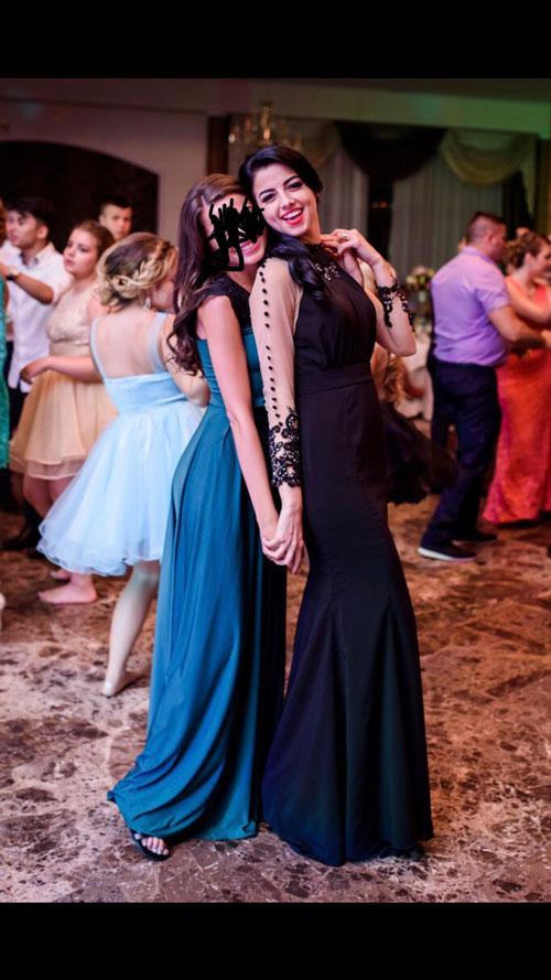 Illusion Long Sleeves Black Halter Prom Dress