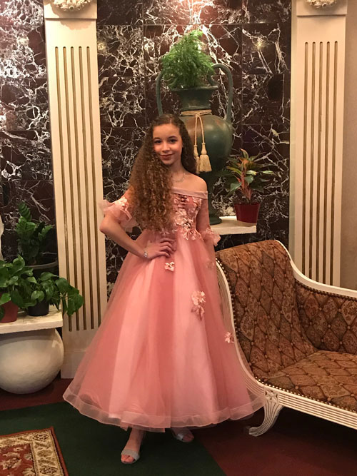 Off the Shoulder Pink Flower Girl Dress for Girls