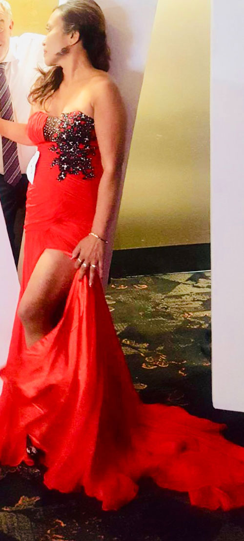 Red Slit Prom Dress With Strapless Neckline