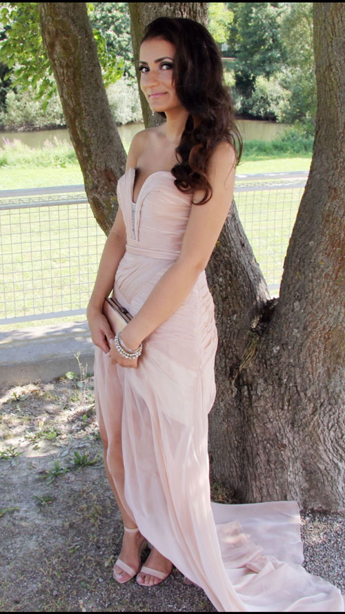 Strapless Slit Prom Dress Pink