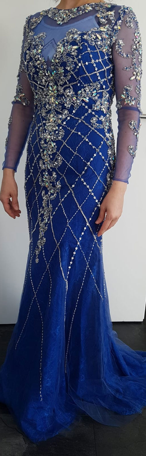 Long Sleeves Blue Prom Dress Mermaid