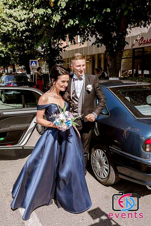 Off the Shoulder Blue Prom Dress