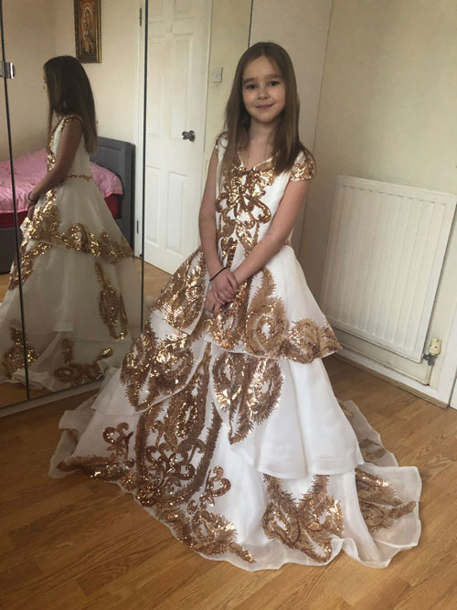 Beautiful Long Girl Dress With Gold Embroidery