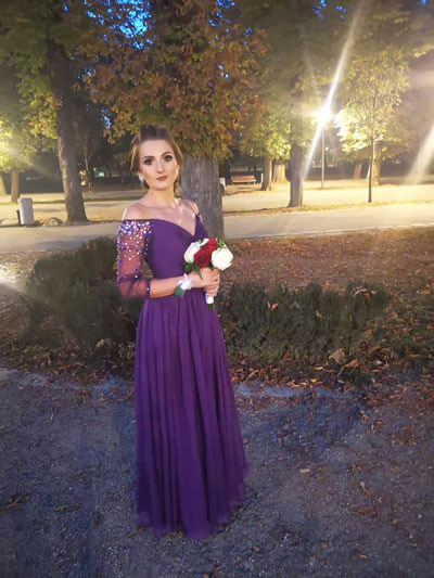 Off the Shoulder Long Sleeves Purple Prom Dress