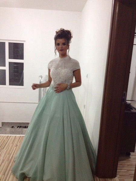 Short Sleeves Green Ball Gown for Prom