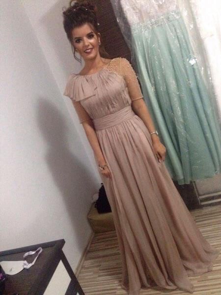 Round Neck Beige Prom Dress A-line