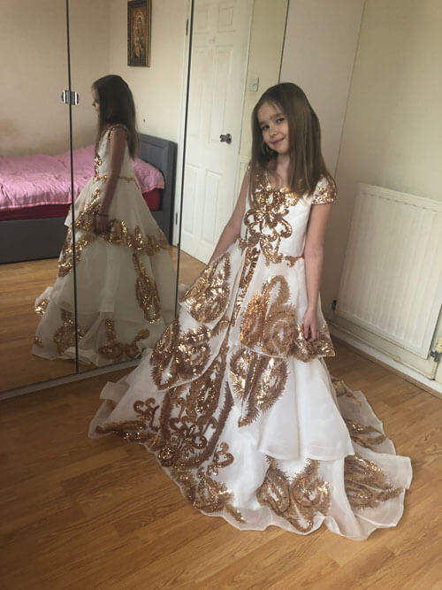 Lovely Flower Girl Dress Party Dress With Gold Embroidery