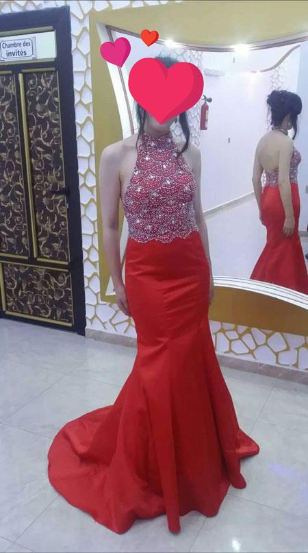Sleeveless Halter Mermaid Red Prom Dress