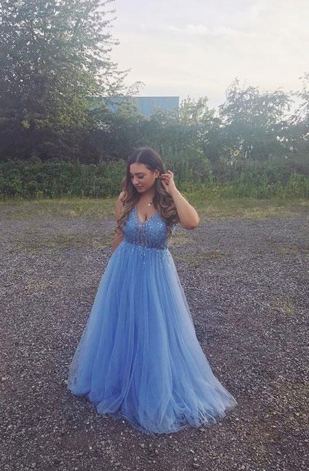 Sexy V Cut Blue Prom Dress