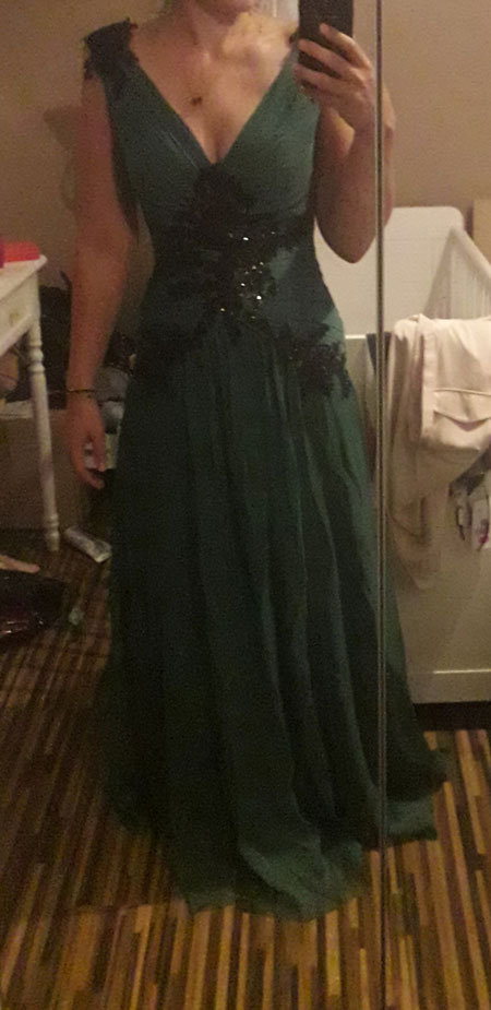 V Neck Dark Green Prom Dress A-line