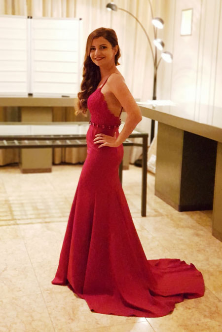 Sleeveless Burgundy Prom dress With Tail
