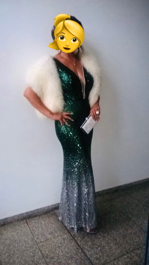 Plunging V Neck Sparkling Green-Silver Prom Dress