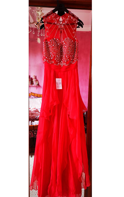 Sleeveless Red Prom Dress With Beads