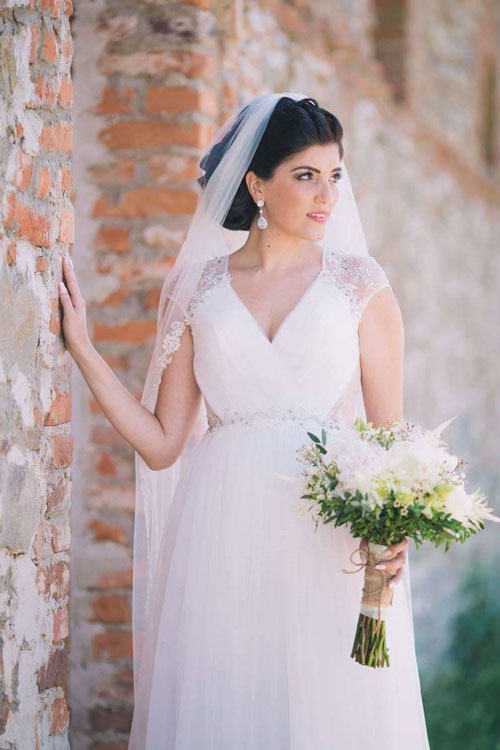 Sleeveless V Neck Cap Sleeves Wedding Dress
