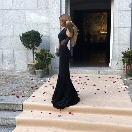 Sleeveless Black Prom Dress Sheath