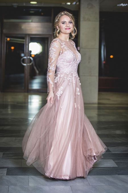 Long Sleeves Pink Prom Dress