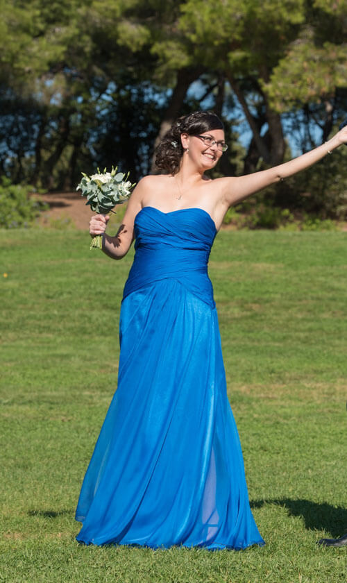 Straples Blue Bridesmaid Dress for Wedding