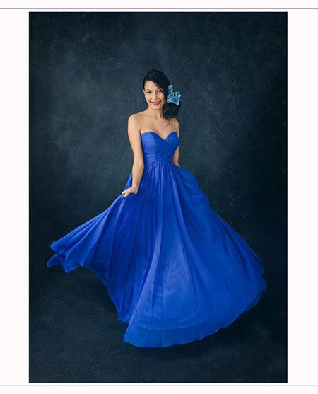 Strapless Blue Prom Dress for Wedding