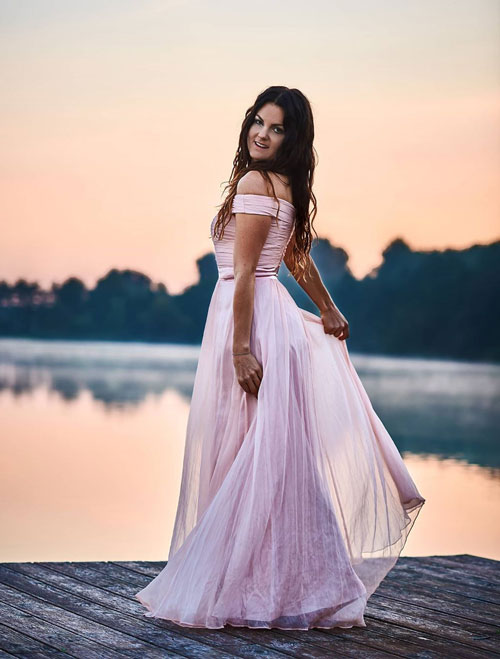 Off the Shoulder Pink Evening Prom Dress
