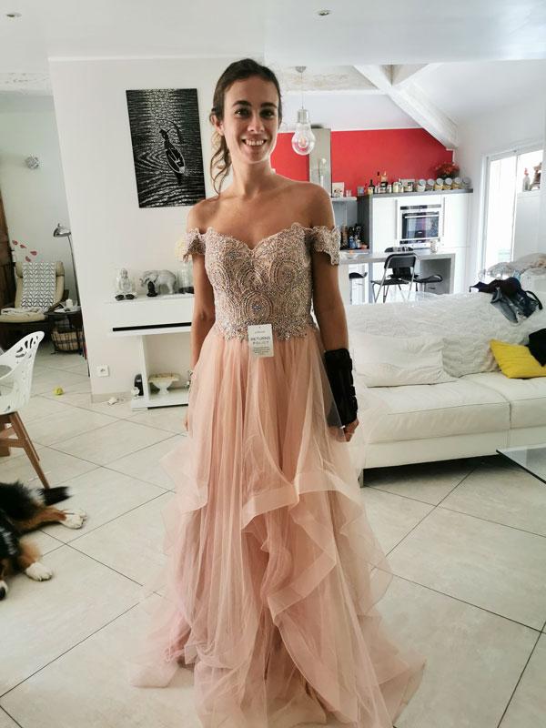 eDressit Off the Shoulder Beaded Women's Prom Dress