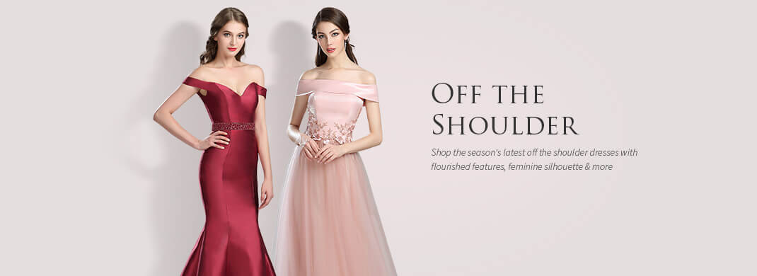 Off Shoulder Scoop Dresses for Women