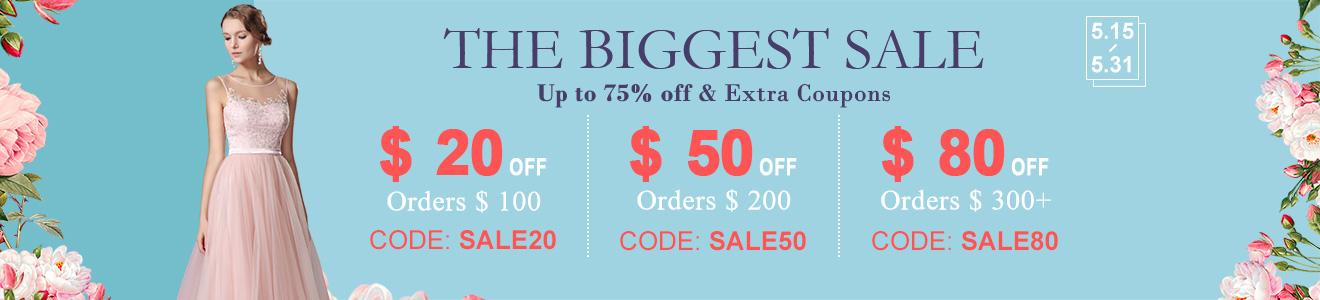 The Biggest Sale  $20 OFF Orders $100 |$50 OFF Orders $200|$80 OFF Orders $300+